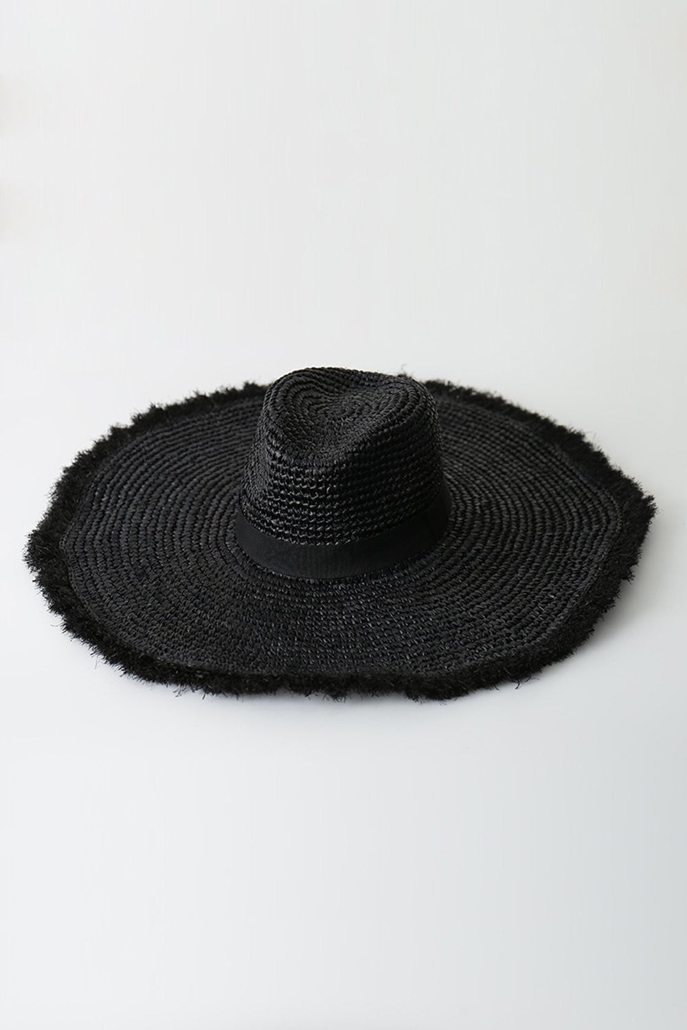 Black Raffia Straw Edging Fedora Hat (2207889817659)