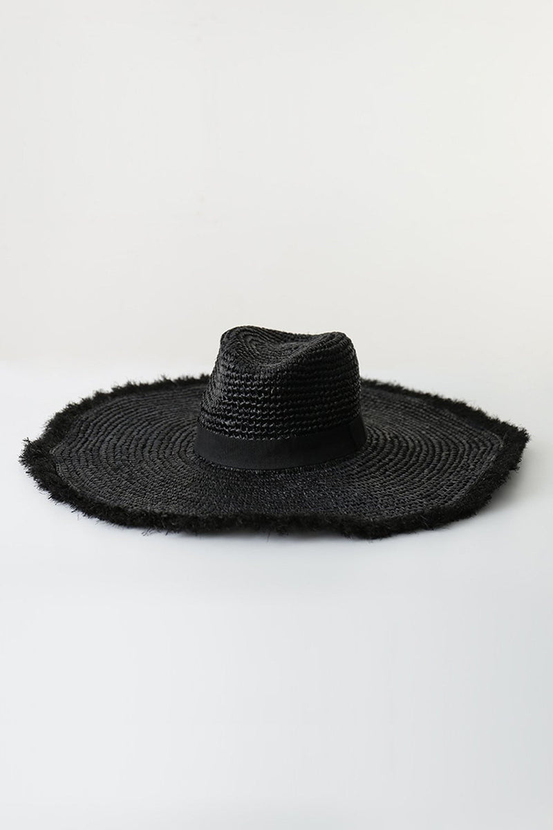 Black Raffia Straw Edging Fedora Hat