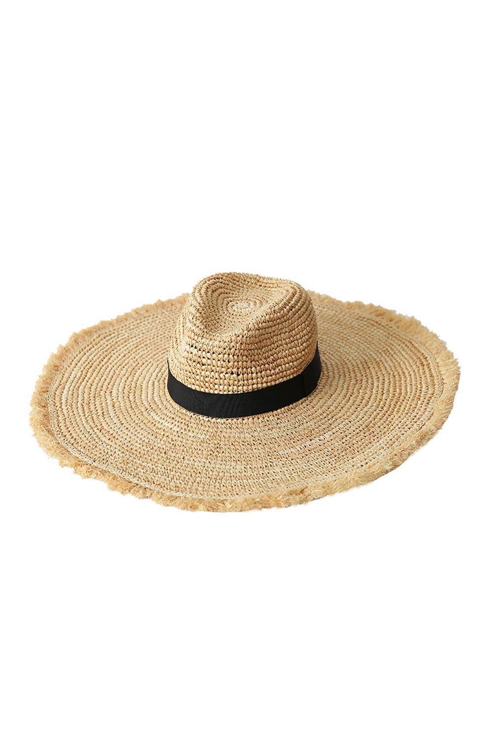 Black Trim Raffia Straw Edging Fedora Hat (2207889850427)