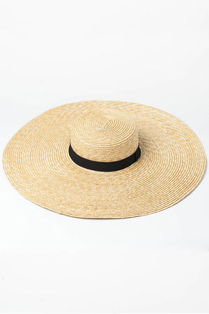 Black Ribbon Trimmed Wheat Straw Boater (2207889883195)
