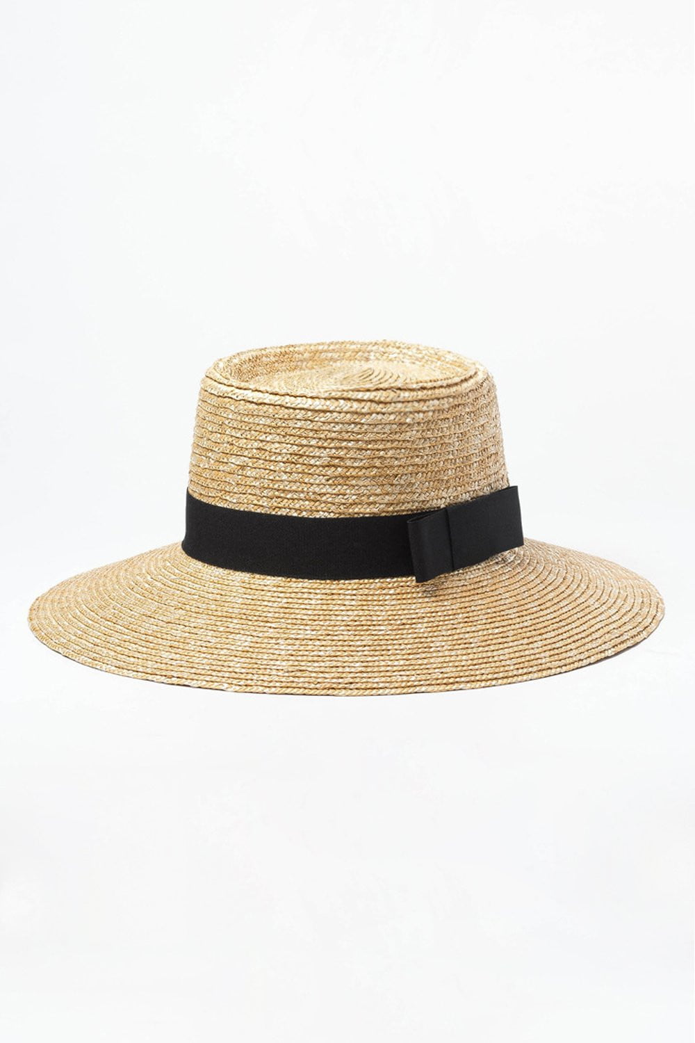 Black Bow Trimmed Wheat Straw Flat Boater (2207890079803)