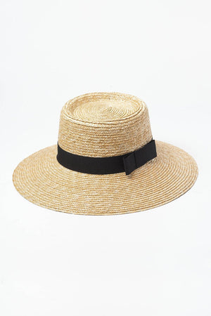 Black Bow Trimmed Wheat Straw Flat Boater