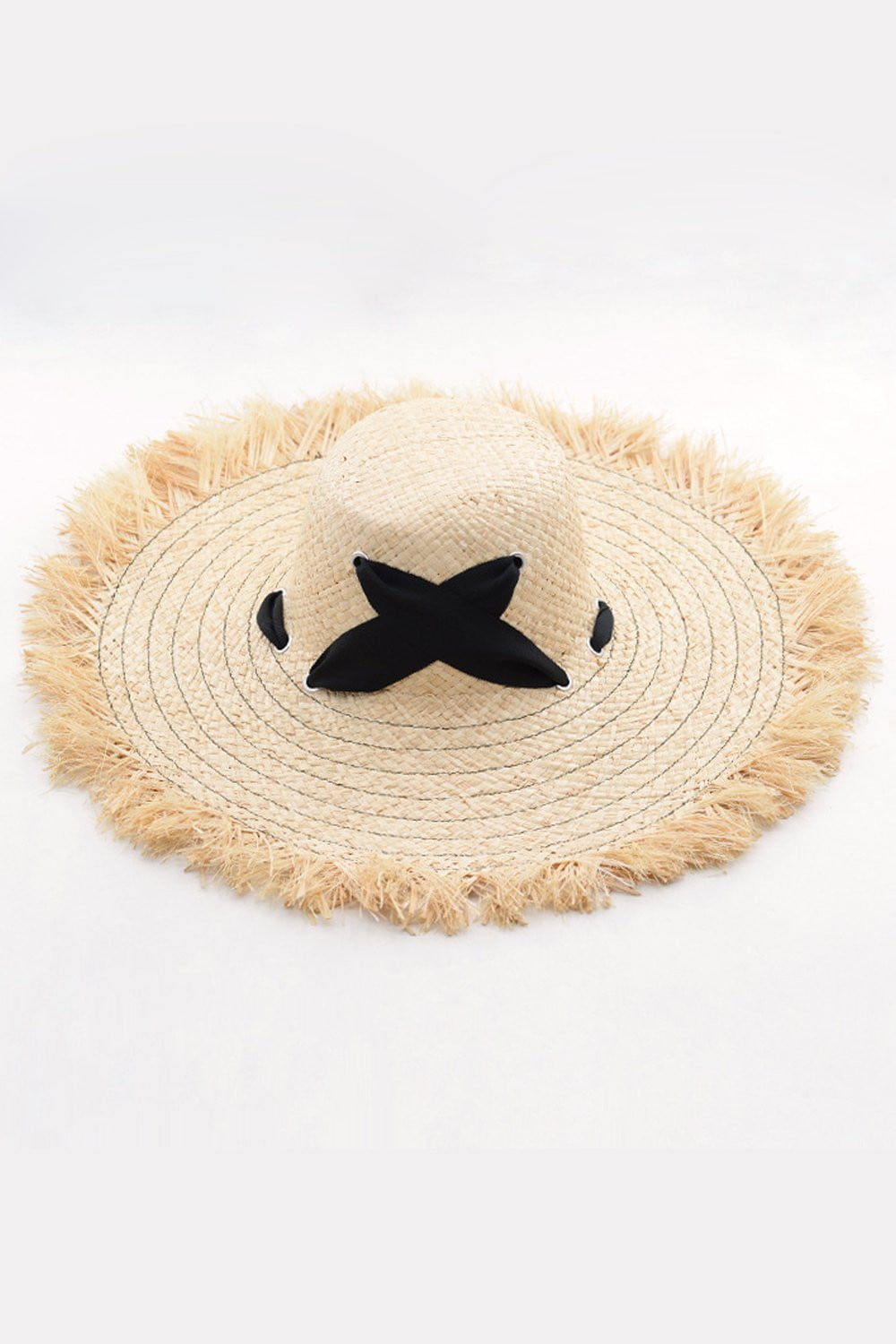 Raffia Straw Edging Hat With Chin Tie (2207890243643)