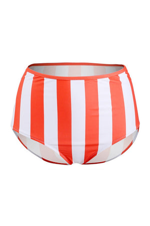 Red White Striped High Waisted Bikini Bottom (2235494465595)