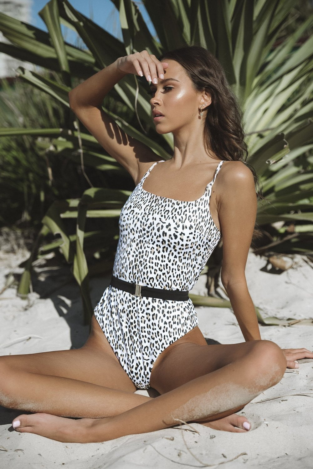 Leopard Print Belted One Piece Swimsuit