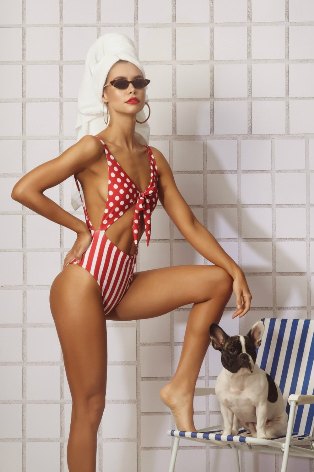 Red White Polka Dots & Striped Tie Front Cut Out Monokini