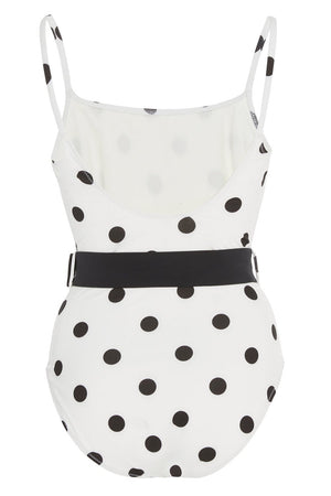 Black White Polka Dots Belted One Piece Swimsuit (2235494858811)