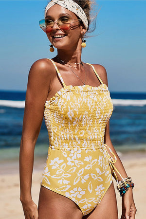 Yellow White Floral Smocked Frill Trim One Piece Swimsuit (2253959495739)