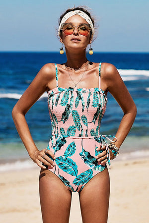 Tropical Leaves Smocked Frill Trim One Piece Swimsuit