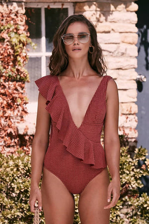 Raspberry Plunge Frill Trim One Piece Swimsuit