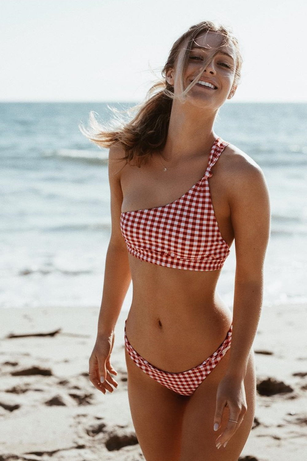 Red Gingham Knotted One Shoulder Bikini Top