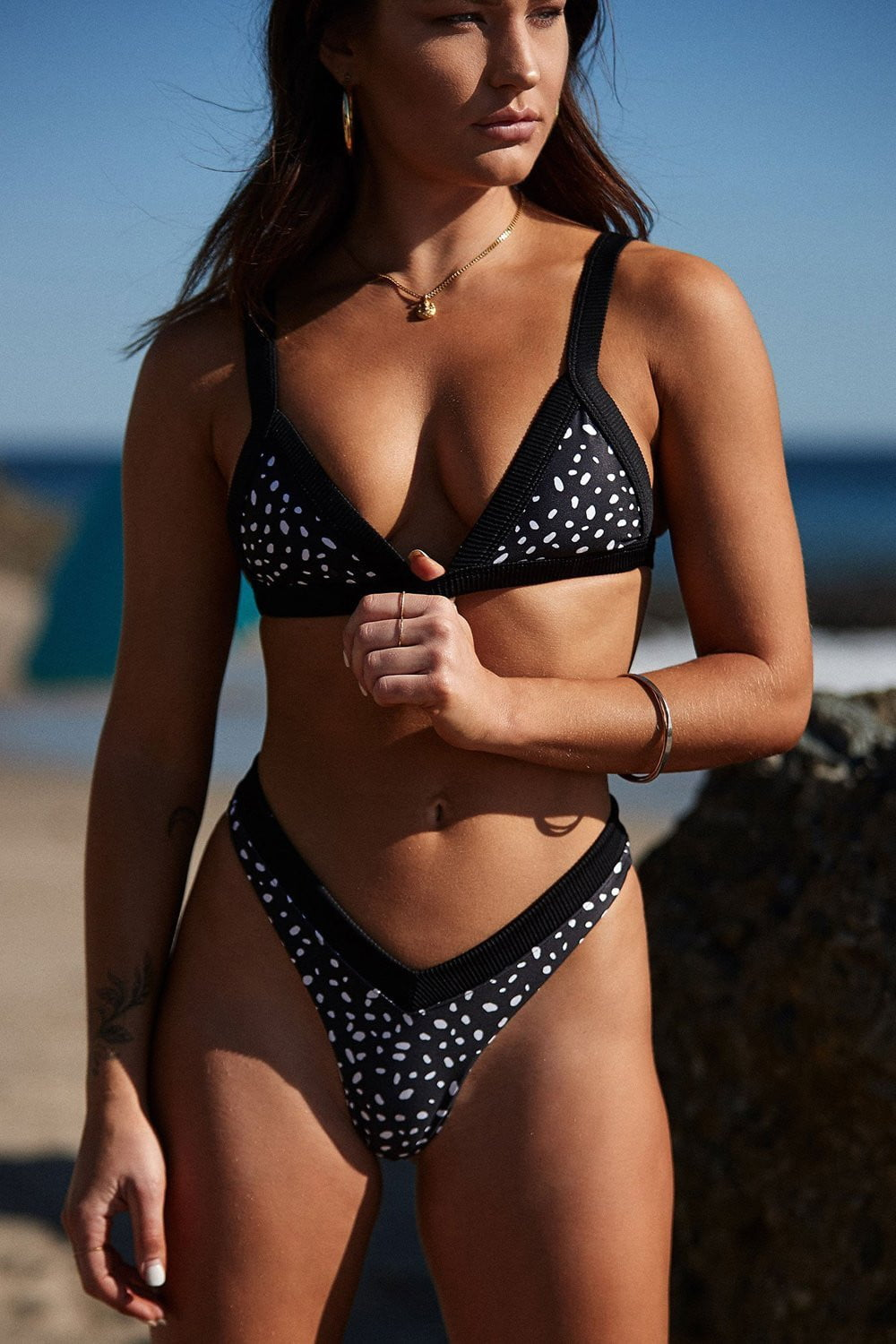 Black Flint Ribbed Trim Bikini Top