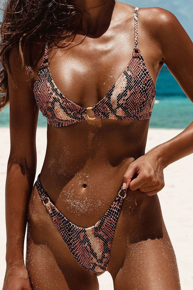 Snakeskin O-Ring Triangle Bikini Top (2255107293243)