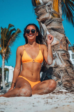 Orange O-Ring Trianle Bikini Top