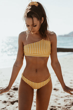 Yellow Gingham Knotted One Shoulder Bikini Top (2255107424315)