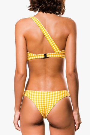 Yellow Gingham Knotted One Shoulder Bikini Top