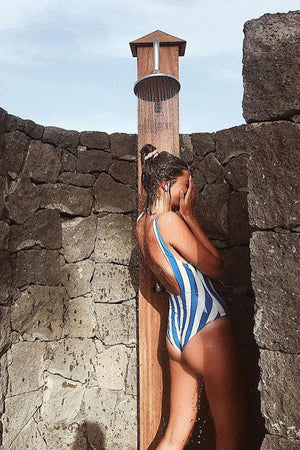 Blue White Striped One Piece Swimsuit (2261120450619)