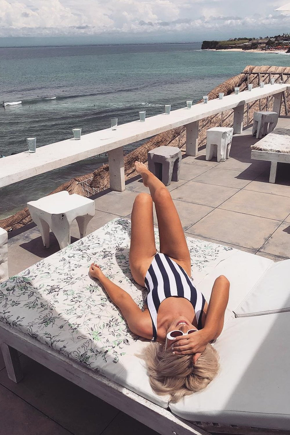 Black White Striped One Piece Swimsuit (2261120483387)