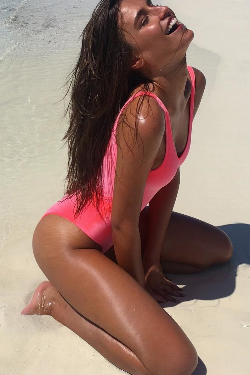 Neon Salmon Velvet One Piece Swimsuit