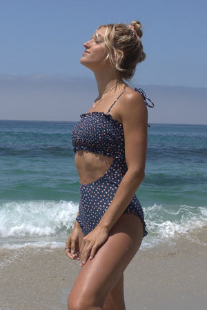 Navy Polka Dots Smocked Frill Cut Out One Piece Swimsuit (2265517916219)