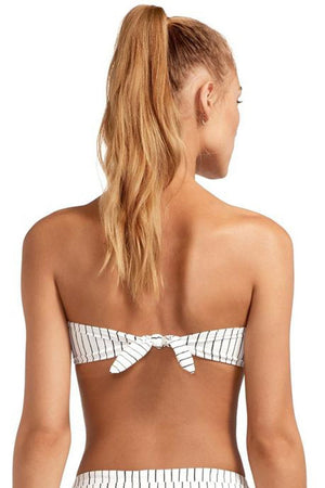 Black White Striped Bandeau Bikini Top