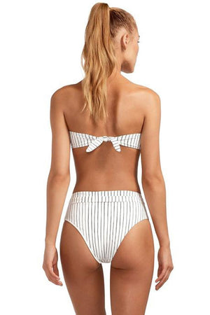 Black White Striped Bandeau Bikini Top (2267783364667)