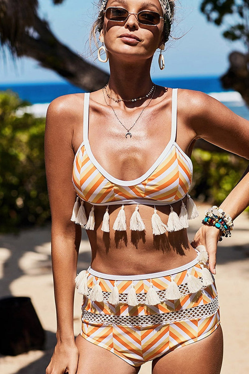 Orange White Chevron Print Tassel Trim Bikini Top (2267783462971)