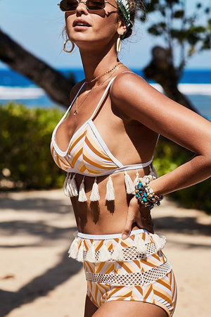 Brown White Chevron Print Mesh Tassel Trim Bikini Bottom (2267783888955)