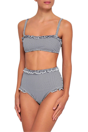 Black White Striped Frill High Waist Bikini Bottom