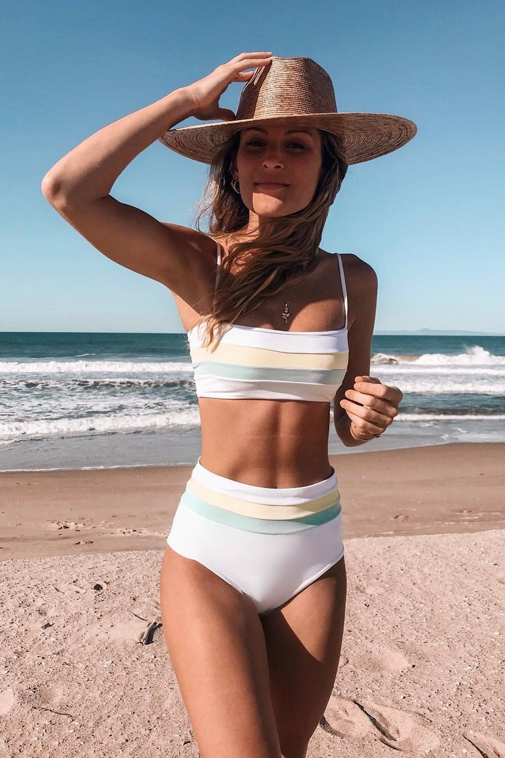 Yellow Striped High Waisted Bikini Bottom (2306856190011)