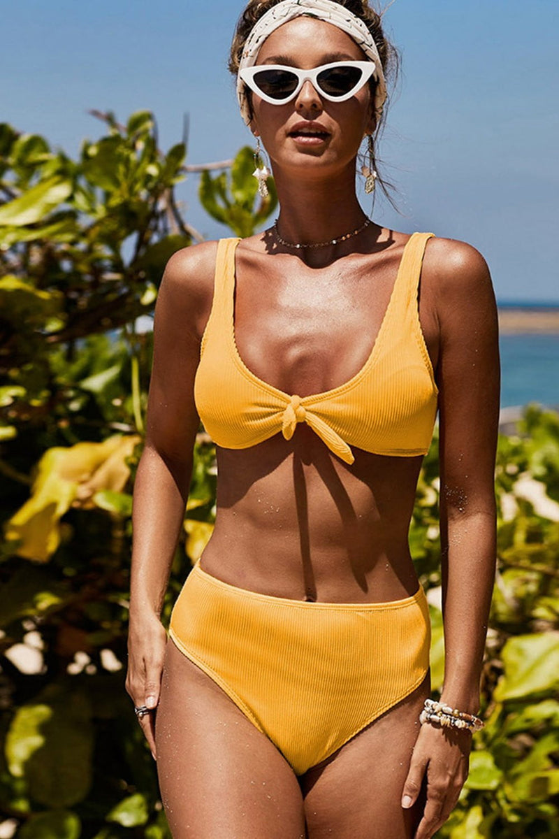 Orange Ribbed Tie Front Bikini Top (2318062026811)