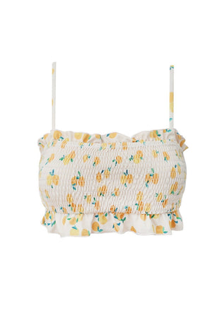 Lemon Smocked Ruffle Trim Bandeau Bikini Top (2318715650107)