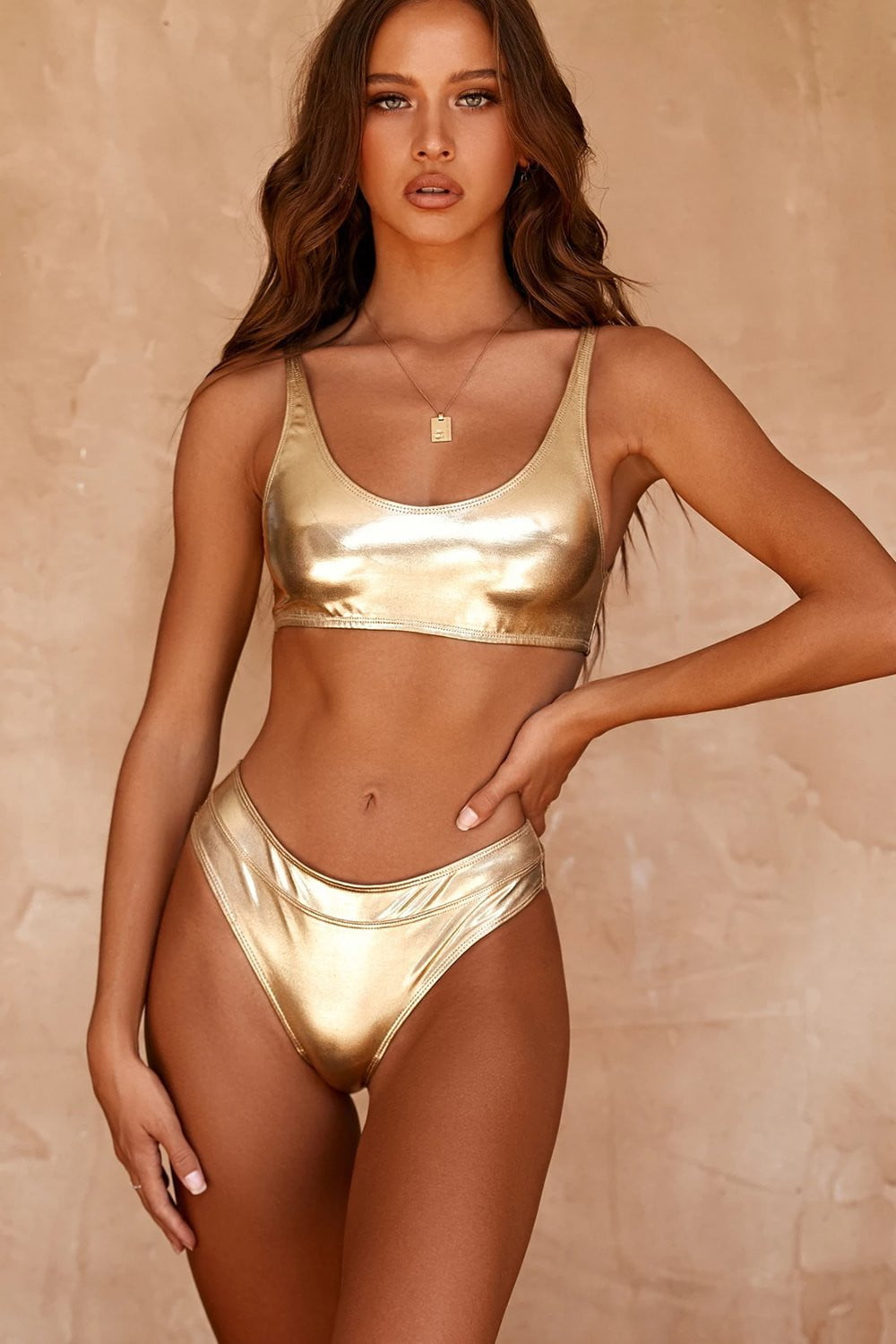 Metallic Glod Cropped Bikini Top (2322828722235)