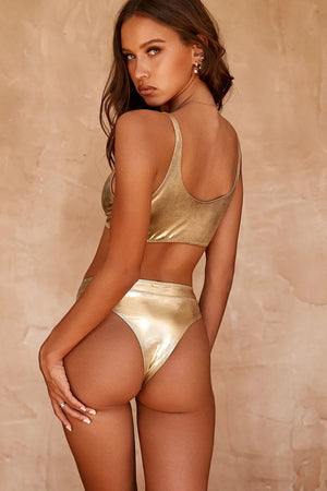 Metallic Gold High Leg Bikini Bottom (2322828918843)