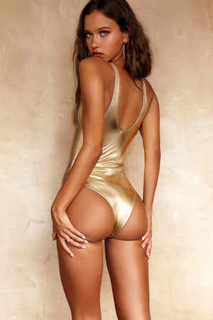 Metallic Gold One Piece Swimsuit (2318062125115)