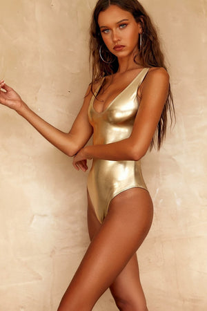 Metallic Gold One Piece Swimsuit