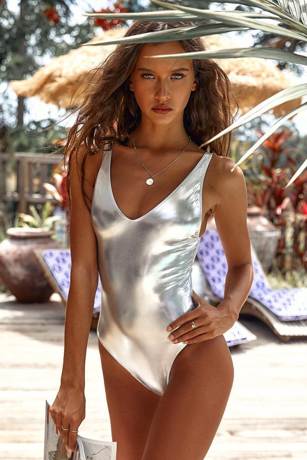 Metallic Silver One Piece Swimsuit (2318715846715)