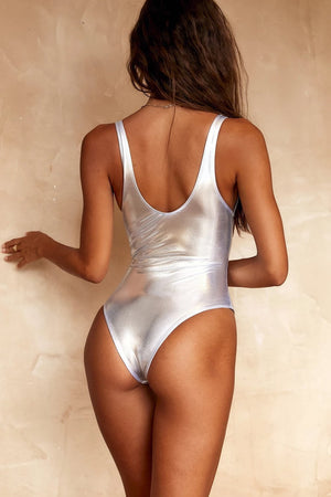 Metallic Silver One Piece Swimsuit