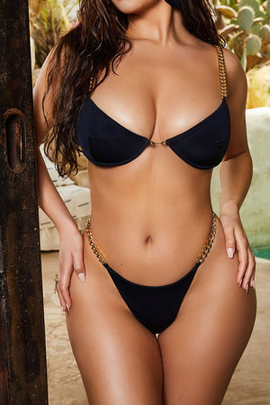 Black Chain Strap Underwired Bra Bikini Top