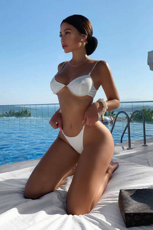 White Chain High Rise Bikini Bottom (4319709626427)