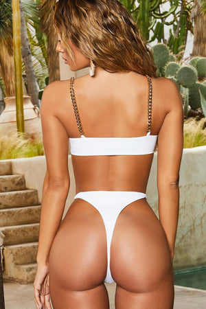 White Chain Strap Underwired Bra Bikini Top