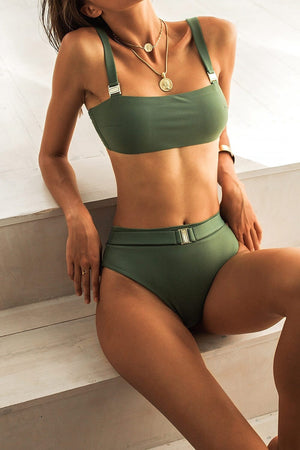 Military Green Bandeau Bikini Top With Buckle Detail (4319708839995)