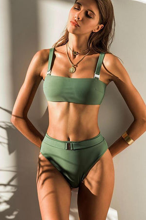 Military Green Buckle Detail High Waisted Bikini Bottom
