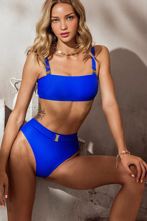 Blue Bandeau Bikini Top With Buckle Detail (4319708905531)