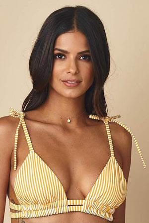 Yellow White Striped Tie Shoulder Bikini Top (4319709003835)