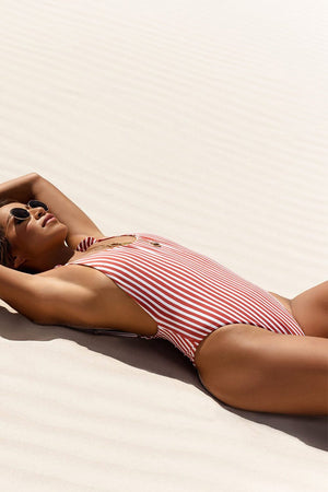 Red White Striped Ruffle Trim One Piece Swimsuit (4320157630523)