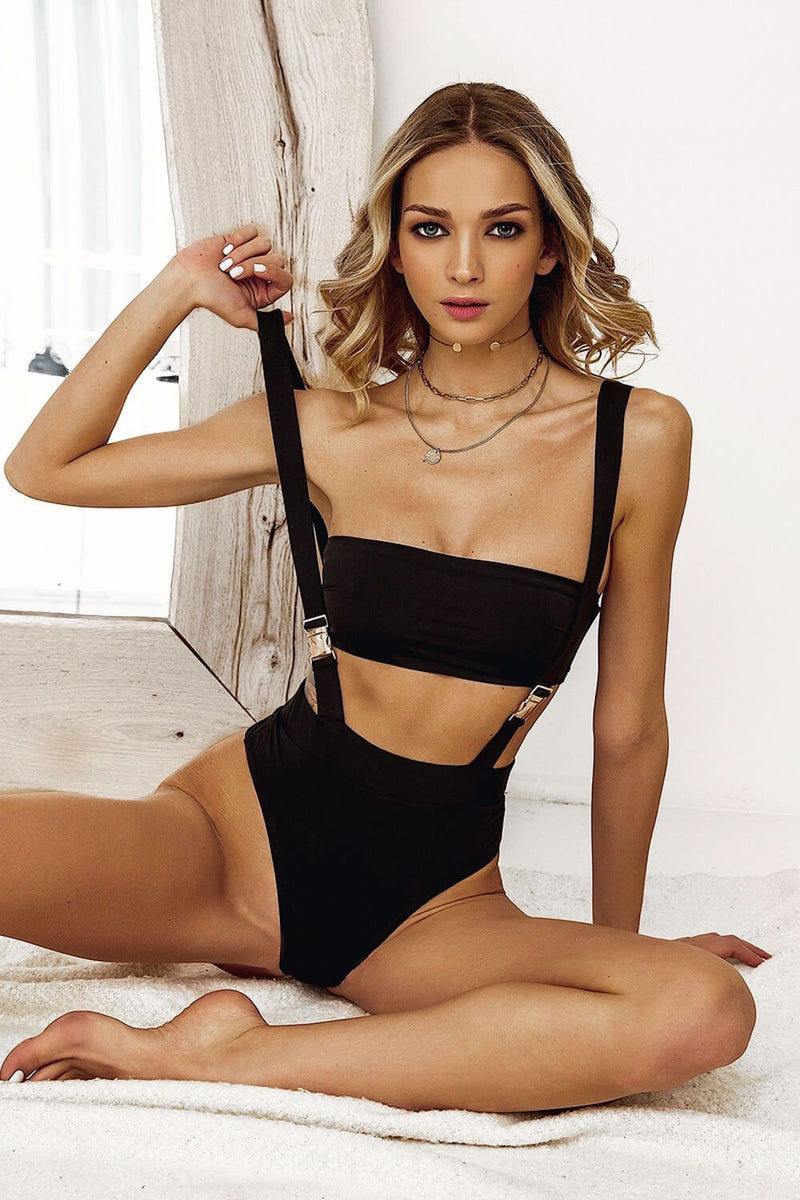 Black Ribbed Buckle Strappy Bikini Bottom & Bandeau Bikini Top Set (4320157696059)