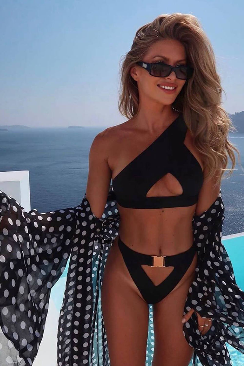 Black One Shoulder Cut-Out Bikini Top