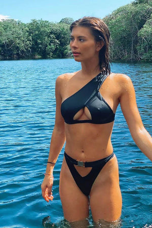 Black Buckle Cut-Out Bikini Bottom