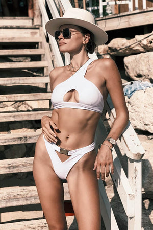 White One Shoulder Cut-Out Bikini Top